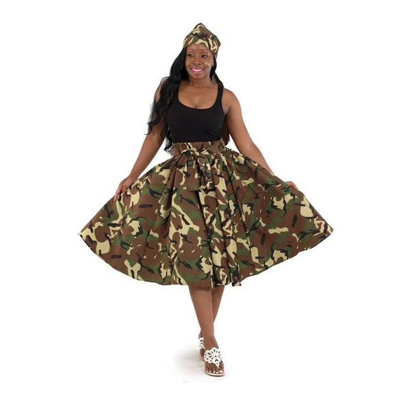 Boheme Dresses & Skirts - Camo Skirt: Military Green and Head-wrap SALE!
